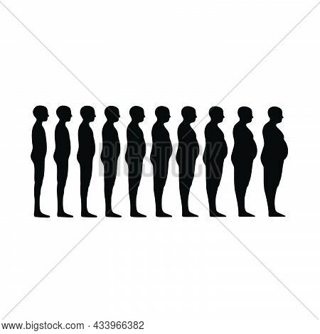 Standing Human Body Silhouette Icon Isolated On White Background From Body Parts Collection. Standin
