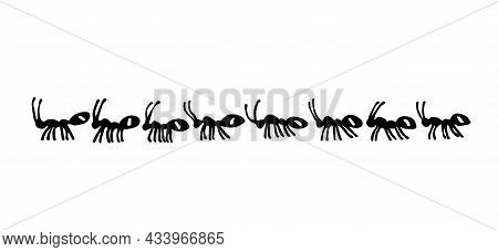 A Marching Formation Of Domestic Ants. Insect Pests. For A Frame Or Border. Vector Illustration With