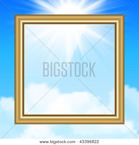 Hanging Picture on blue sky background. Vector illustration. poster