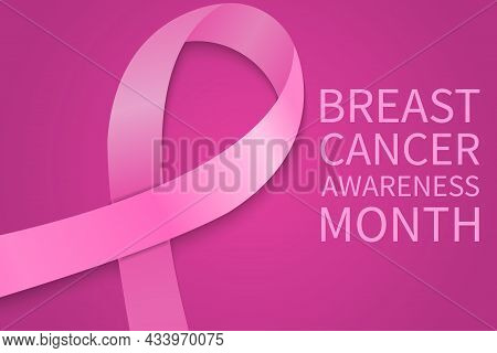 Breast Cancer Awareness Month Background With Pink Ribbon. Pink Ribbon As Symbol Of Breast Cancer Aw
