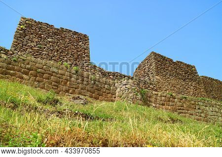 Remains Of Ancient Structures In Pisac Archaeological Site, Sacred Valley Of The Incas, Cusco Region