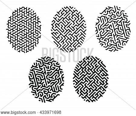 Linear Icon. Set Of Fingerprint Mazes With Unique Cells. Fingerprint Biometric Identification. Simpl