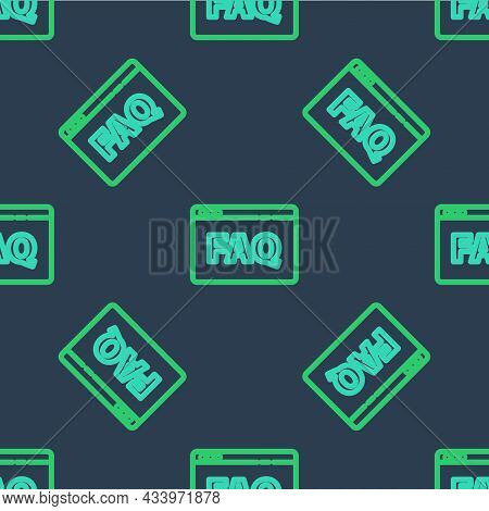 Line Browser Faq Icon Isolated Seamless Pattern On Blue Background. Internet Communication Protocol.