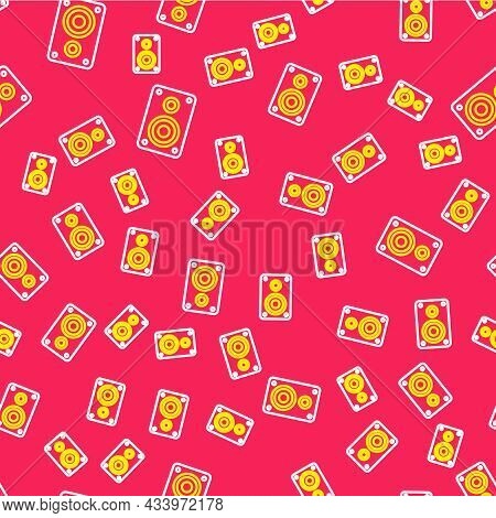 Line Stereo Speaker Icon Isolated Seamless Pattern On Red Background. Sound System Speakers. Music I