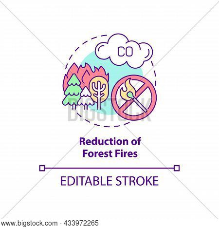 Forest Fires Reduction Concept Icon. Common Initiative Abstract Idea Thin Line Illustration. Reduce