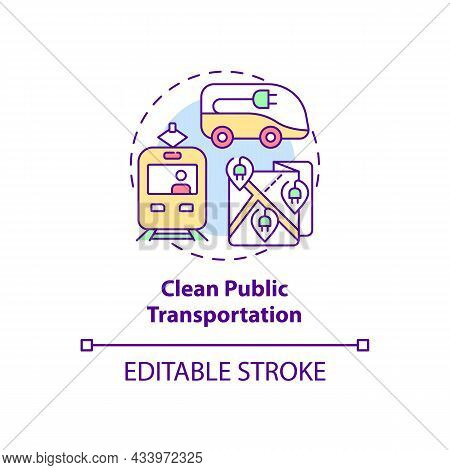 Clean Public Transportation Concept Icon. Reducing Air Pollution Abstract Idea Thin Line Illustratio