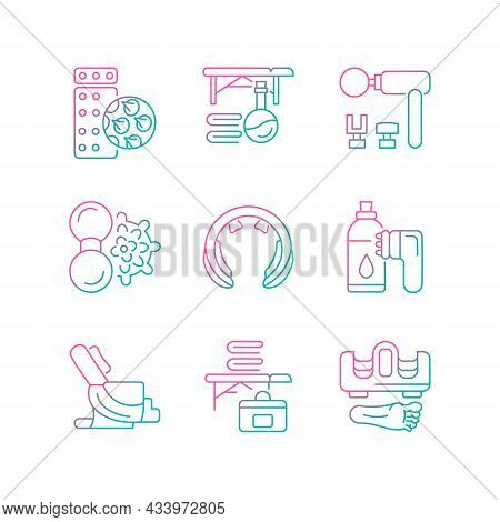 Electric Massagers Gradient Linear Vector Icons Set. Massage Table And Oil. Vibrating Devices For Ne
