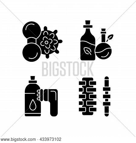 Hand Massagers Black Glyph Icons Set On White Space. Anticellulite Massager. Devices For Massaging B