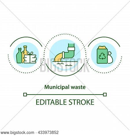 Municipal Waste Concept Icon. Waste Recycling. Different Types Of Municipal Garbage Products Abstrac