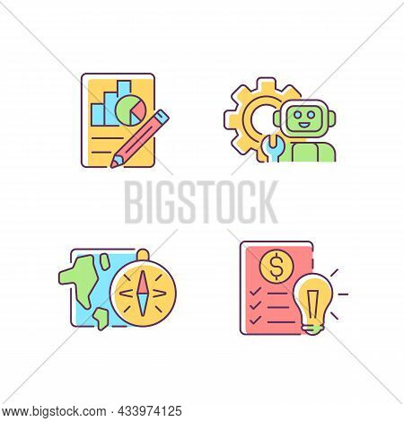 Diversity Of School Subjects Rgb Color Icons Set. Economics Report. It Classes. Geography Lessons. F