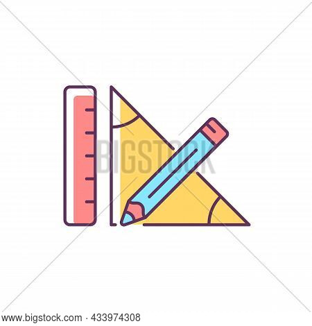Geometry Rgb Color Icon. Pencil And Ruler. Geometrical Problem Solving. Draw Line. Measurement Sides