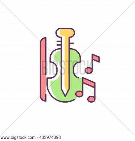 Music Rgb Color Icon. Playing Musical Instruments In Educational Institutions. Violin, Bow, Notes. M