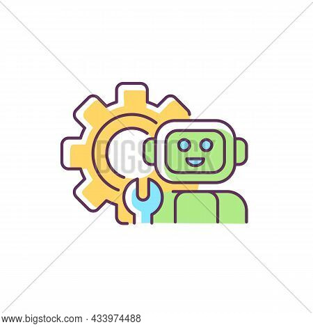 Technology Rgb Color Icon. Robot With Wrench Against Background Of Huge Gear. Technology Classes In