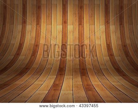 Realistic 3D Presentation Empty Room - Wood Parket Background Texture