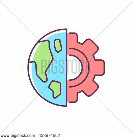 Earth Science Rgb Color Icon. Physical Environment, Solid Surface Inestigation. Earth Science Classe