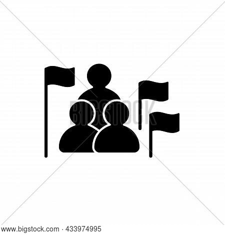 Social Studies Black Glyph Icon. Group Of People, Flags. Humanities Science. Social Science Learning