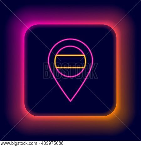 Glowing Neon Line Location Russia Icon Isolated On Black Background. Navigation, Pointer, Location,