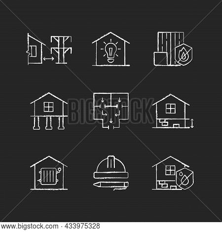 Building Safety Regulations Chalk White Icons Set On Dark Background. Adequate Housing. Resistance T