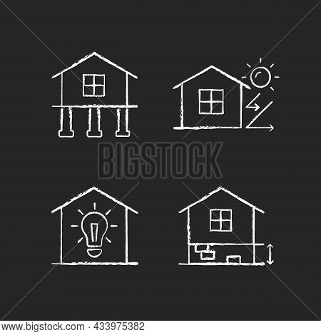 Residential Building Chalk White Icons Set On Dark Background. Pile Foundation. Thermal Insulation.