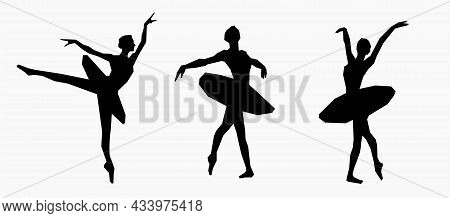 Ballerina Silhouette. Poses Of Ballet. Black And White Illustration With Girls Dancing