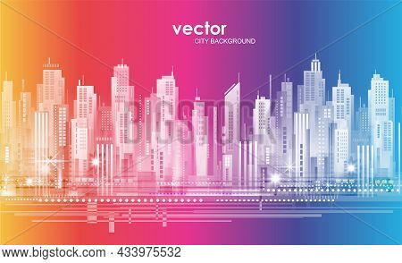 Urban Vector Cityscape At Night. Skyline City Silhouettes. City Background With Architecture, Skyscr