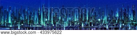 Night City Illustration With Neon Glow And Vivid Colors. Illustration With Architecture, Skyscrapers