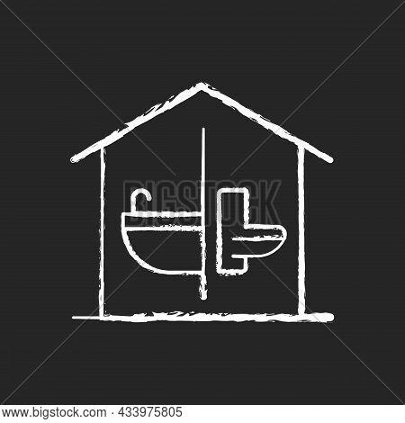 Sanitation Facilities Chalk White Icon On Dark Background. Hygienic Conditions Maintenance. Accessib