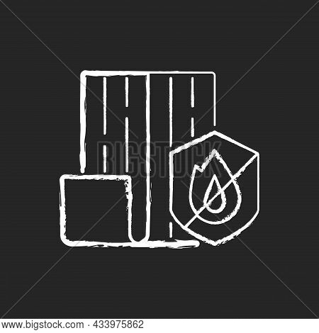 Resistance To Fire Chalk White Icon On Dark Background. Choosing Fireproof Construction Materials. F