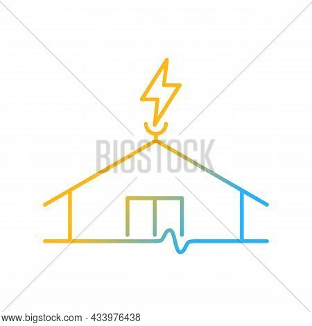 Lightning Rod Gradient Linear Vector Icon. Protecting Buildings From Lightning Strike Damage. Preven
