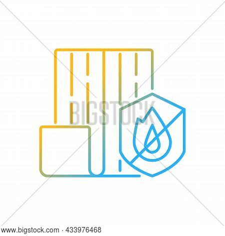 Resistance To Fire Gradient Linear Vector Icon. Choosing Fireproof Construction Materials. Fire-resi