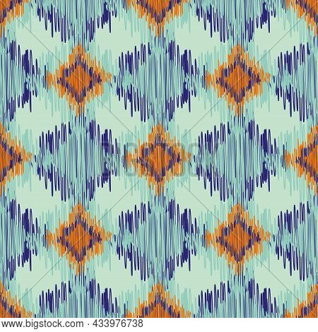 Shibori Style Ikat Vector Seamless Vector Pattern Background. Scribbled Diamond Shapes Backdrop In O
