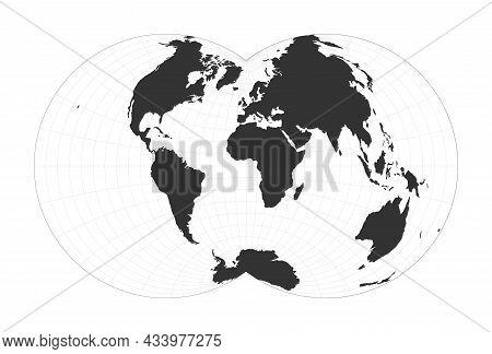 Map Of The World. Nicolosi Globular Projection. Globe With Latitude And Longitude Net. World Map On