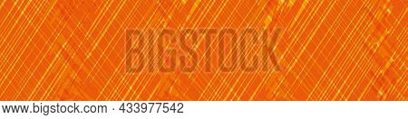 Diagonal Scrim Linen Weave Texture Vector Border. Seamless Orange Color Canvas Effect Banner With Sc