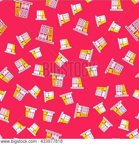 Line Office Folders With Papers And Documents Icon Isolated Seamless Pattern On Red Background. Offi