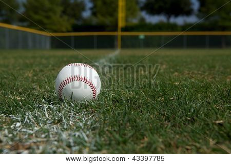 Baseball on the Outfield Chalk Line