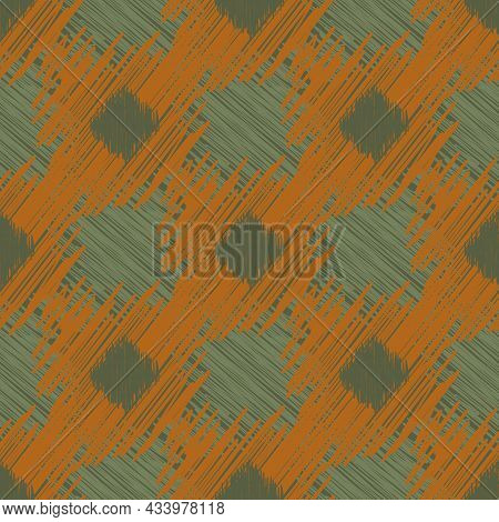Shibori Style Ikat Vector Seamless Vector Pattern Background. Scribbled Diamond Shapes Backdrop In E