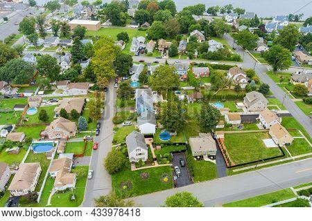 Aerial View Modern Residential District In American Town, Residential Neighborhood In Woodbridge Nj