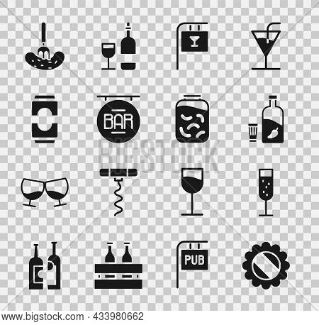 Set Bottle Cap, Glass Of Champagne, Vodka With Pepper And Glass, Street Signboard Bar, Beer Can, Pic