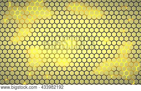 Light Yellow Hexagonal Technology Abstract Vector Background With Neon Colored Bright Flashes Under