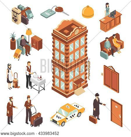 Hotel Isometric Icons Set With Modern Multistory Hotel Building Yellow Taxi Car Reception Bellman Ma