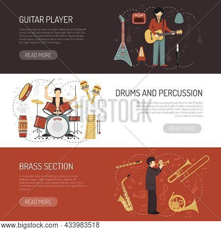 Musicians Horizontal Banners  With Different Musical Instruments So As Drums Percussion Guitar And B