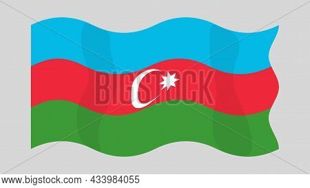 Detailed Flat Vector Illustration Of A Flying Flag Of Azerbaijan On A Light Background. Correct Aspe