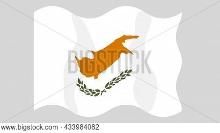 Detailed Flat Vector Illustration Of A Flying Flag Of Cyprus On A Light Background. Correct Aspect R