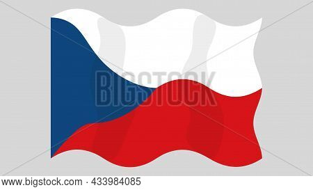 Detailed Flat Vector Illustration Of A Flying Flag Of Czech Republic On A Light Background. Correct