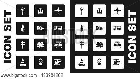 Set Plane, Minibus, Rocket Ship With Fire, Road Traffic Signpost, Bus, Cable Car, Car And Icon. Vect