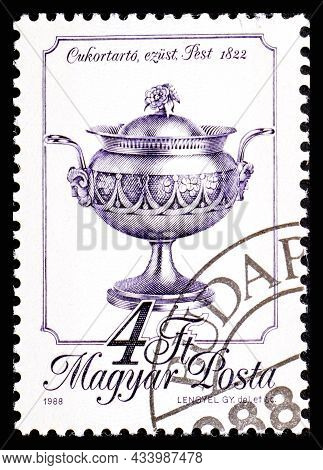Hungary - Circa 1988: A Stamp Printed In Hungary From The Metal Crafts Issue Shows Silver Sugar Basi