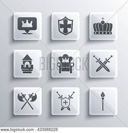 Set Medieval Shield With Swords, Spear, Crossed Medieval, Throne, Axes, Castle Tower, Location King