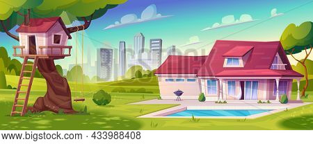 Tree House With Swing, Ladder On The Background Of City. Suburban House, Cottage With Pool, Green La