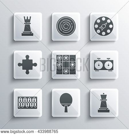 Set Racket, Chess, Time Chess Clock, Board Game Of Checkers, Puzzle Pieces Toy, And Twister Icon. Ve