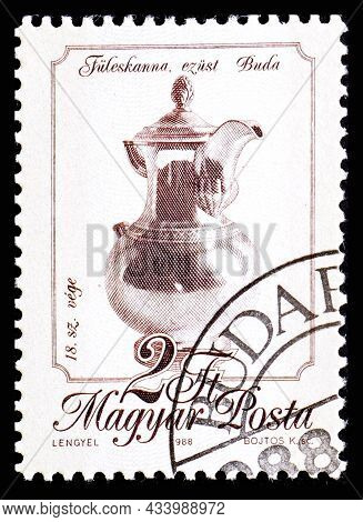 Hungary - Circa 1988: A Stamp Printed In Hungary From The Metal Crafts Issue Shows 18th Century Silv